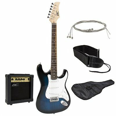 Full Size Blue Electric Guitar with Amp, Case and Accessories - NEW
