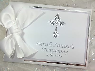 Personalised Christening Baptism Baby Handmade Guest Book Album Diamante Cross