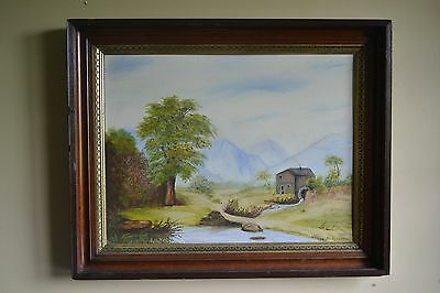 Waterwheel Mill Barn Painting signed - Original Landscape