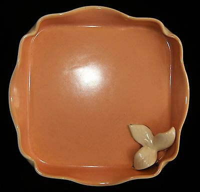 Vtg 1950's Pink & Ivory CALIFORNIA Pottery TRAY Planter w/ Applied Leaf 963-1