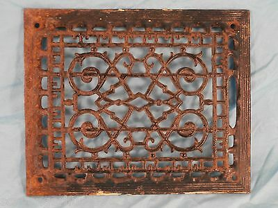 "Antique Victorian Cast Iron Raised Wall/Floor Heat Grate Eastlake 9"" x 11"""