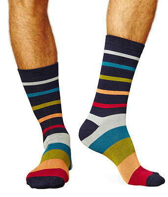 Jarvis-Stripe men's super-soft bamboo crew sock in navy   Exclusive by Braintree