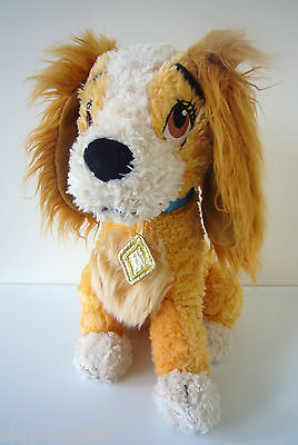 """Disney Store Exclusive Stamp Lady & The Tramp Puppy Dog Soft Beanie Toy 13"""""""
