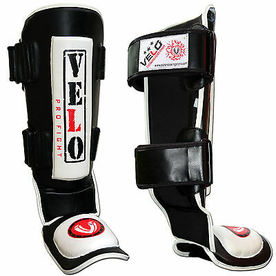 VELO Gel Shin Instep Pads MMA Leg Foot Guards Muay Thai Kick Boxing UFC Rex LTH