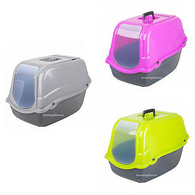 Pet Cat Litter Tray Box Hooded Gated Toilet Carry Handle Grey Green Pink
