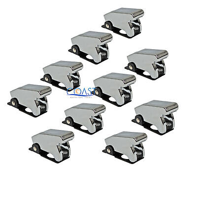 10X Car Marine Industrial Spring-Loaded Toggle Switch Safety Cover - Chrome