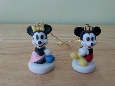 Vintage Schmid Disney LOT of 2 Mini ORNAMENTS Mickey and Minnie Mouse