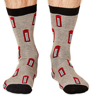 Phone Box men's super-soft bamboo crew socks   London Collection by Braintree