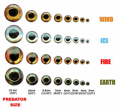 Fish Skull LIVING EYES  - 10mm - FIRE (orange) - photo-realistic holographic 3D