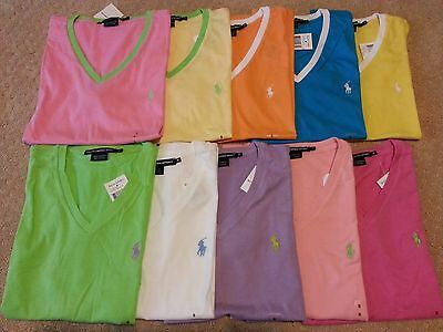 NWT Authentic Polo Ralph Lauren Women's V-neck T Shirts 10 Colors L M S XS