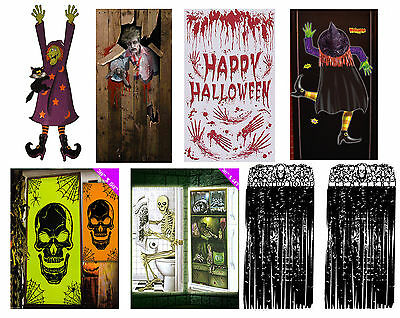 Halloween Door Cover - Wall Party Decoration Skeleton Zombie Witch