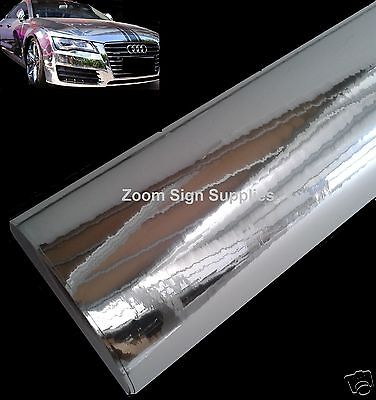 Silver Mirror Chrome Wrapping Vinyl Air Drain Sticky Back Plastic Choose Size