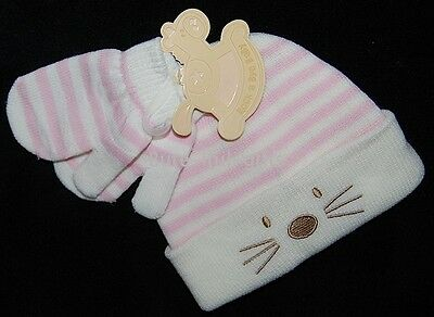"Baby Girls Knitted Pink/Cream ""Little Mouse"" Winter Hat & Mitts Set  0-6 Month"
