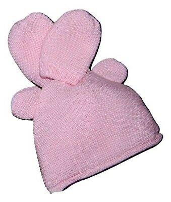 Baby Girls Cotton Lined Winter Hat & Mitts Set 0-3 Months PINK ONLY