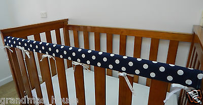 1 x Baby Cot Rail Cover Crib Teething Pad Navy Blue With White Spots