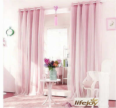 BLOCKOUT EYELET CURTAINS Double Layer Bridal Lace GIRLS Curtain PINK
