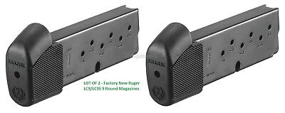 Lot of 2 - RUGER LC9 LC9S EC9S 9mm 9 Round Extended Magazine 90404 9rd Ext Mag