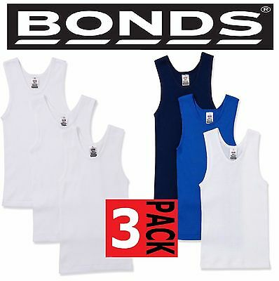 Bonds 3 Pack Chesty Cotton Blue Navy White Boys Kids Singlets Singlet Size 4-14
