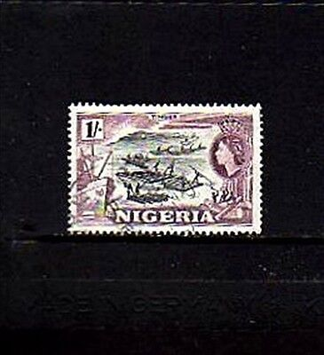 Nigeria - 1953 - Qe Ii - Timber - Logging - # 87 - Used - Nh Single - Scan C!