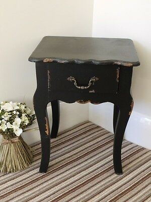 Country style Black painted bedside cabinet 1 drawer chest shabby chic locker