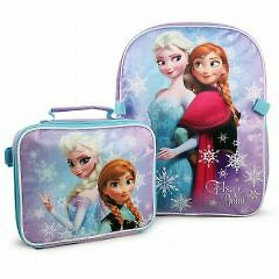 Disney Princess Frozen Anna  Elsa Back to School Backpack Lunch Bag Set