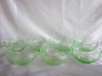 Green Depression Vaseline Glass Bowls W. Roses