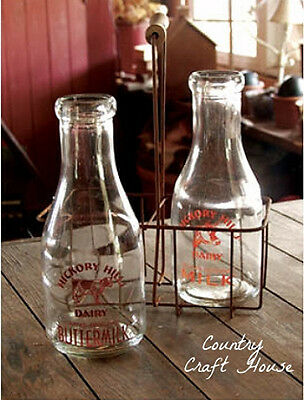 New Primitive Country Farmhouse Cow Vintage MILK BOTTLES & CARRIER Wire Basket