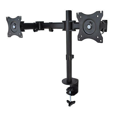 """Dual Monitor Arms Fully Adjustable Desk Mount Stand /For 2 LCD Screens up to 27"""""""