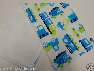 Digger Trucks and Trains Burp Cloth - 1 Only Towelling Back GREAT GIFT IDEA!!