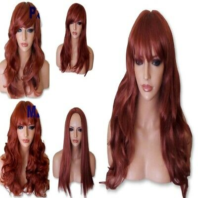 GINGER RED Wig Party Halloween Natural Long Curly Straight Wavy Lady Ladies WIG
