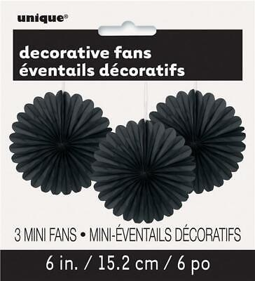 "Black 6"" Hanging Paper Fan Decorations x 3 - Halloween"