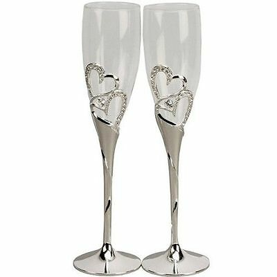 Wedding Toasting Champagne Glasses Flutes Crystal Rhinestone Hearts Stem Silver