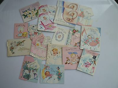 Lot of 18 Vintage Baby Small Greeting Gift Cards Great for Scrapbooks! #3- used