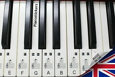 Music Keyboard or Piano Stickers 88 KEY SET  learn to play faster clear stickers