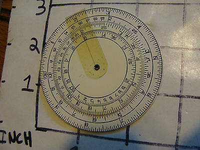 "Vintage Slide Rule wheel: c. 1934 TAVILLA 2 3/4""d MASCOT celluloid wheel"