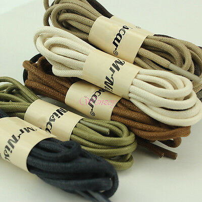 (80/100/120/140cm) Round Waxed Thick Bootlace Leather Brogues Sneaker Shoe Laces