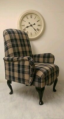 Shabby Chic Black/Grey Lana Tartan small bedroom chair FREE MAINLAND DELIVERY!
