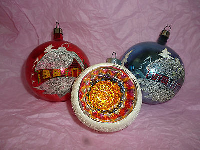 Vintage Mercury Glass Hand Painted Christmas Ornaments with Mica Snow Lot of 3