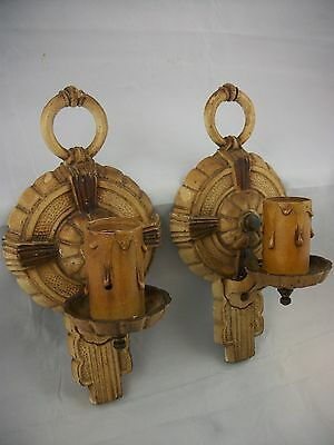 Pair of Antique Art Deco Sconces VTG Wall Lights Puritan 1920's Hammered Tudor
