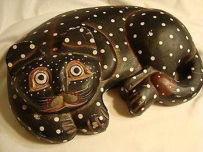 Wooden (solid) Hand Painted Carved spotted black Cat Rustic Primitive Folk Art