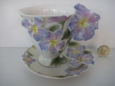 Superb Franz Porcelain  Pansy  Cabinet Cup And Saucer Fz00459
