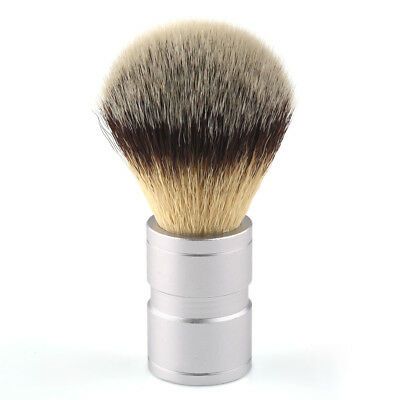 Synthetic Badger Silver Tip Style Shaving Brush Stainless Steel Handle Mens Gift