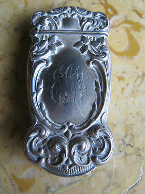 Antique Gorham Sterling Silver Art Nouveau Floral Decorated Match Safe