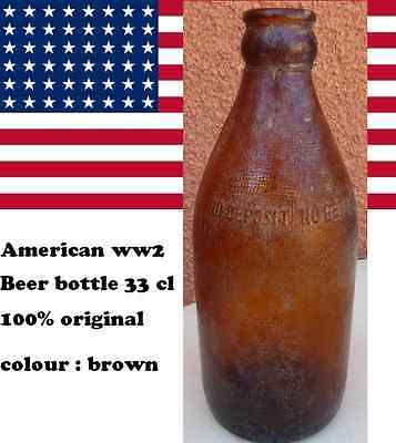 BOUTEILLE BIERE : AMERICAN WW2 BEER BOTTLE 33cl US 100% original marron /  brown