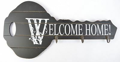 "Black Vintage Wood Key Holder ""Welcome Home!"" Key Shape Wall Decorate My-3232"