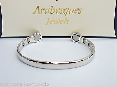 ARABESQUES Super strong BIO magnetic bangle/bracelet. Silver ladies/mens ajmb