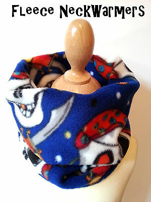 Childrens Boys Blue Pirate Fleece Winter Neck Warmer Scarf - Handmade