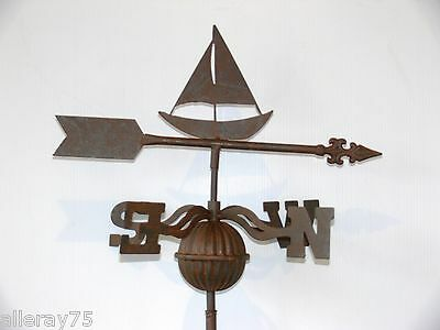 FRENCH DESIGN weather vane rust  boat  GARDEN  OUTDOOR NEW