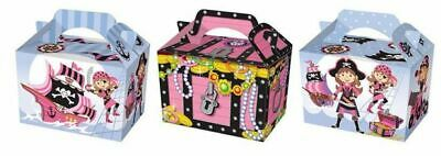 10 Pink Pirate Party Boxes - Food Loot Lunch Cardboard Gift Kids