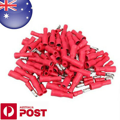 50x 4MM Red Insulated Female Male Bullet Butt Connector Crimp Terminals AUS D001